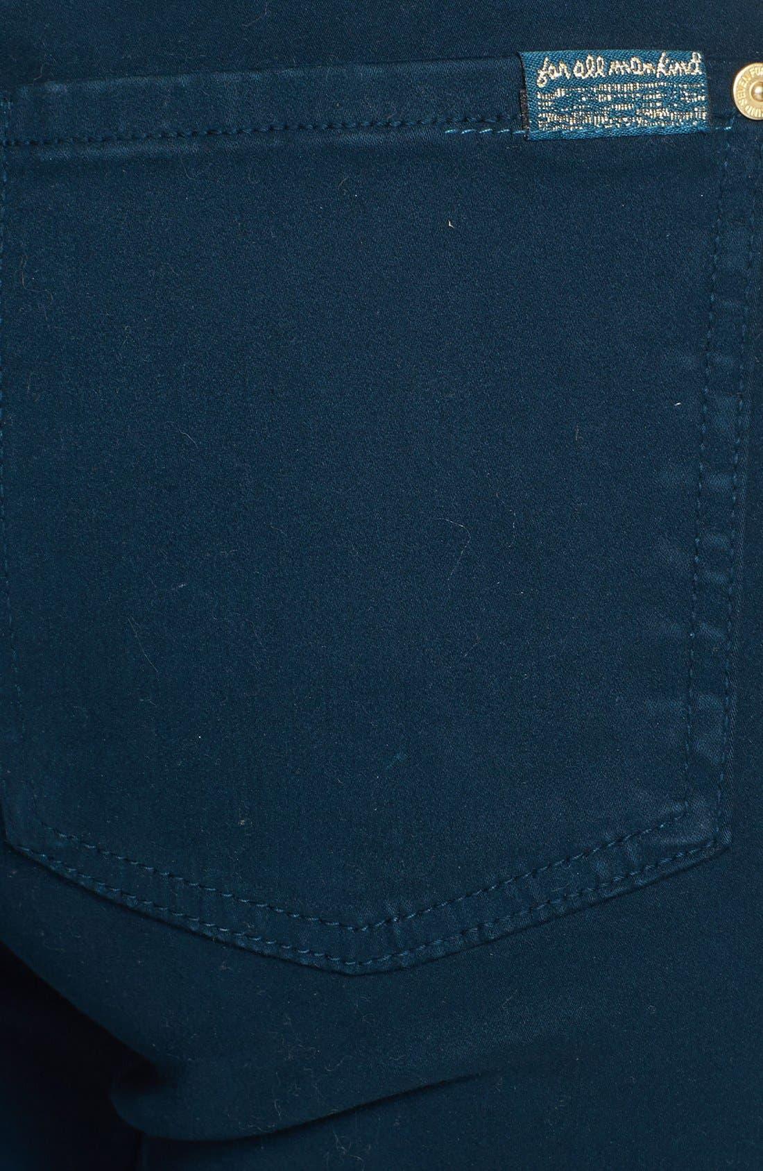Alternate Image 3  - 7 For All Mankind® Sateen Skinny Jeans (Dark Capri)