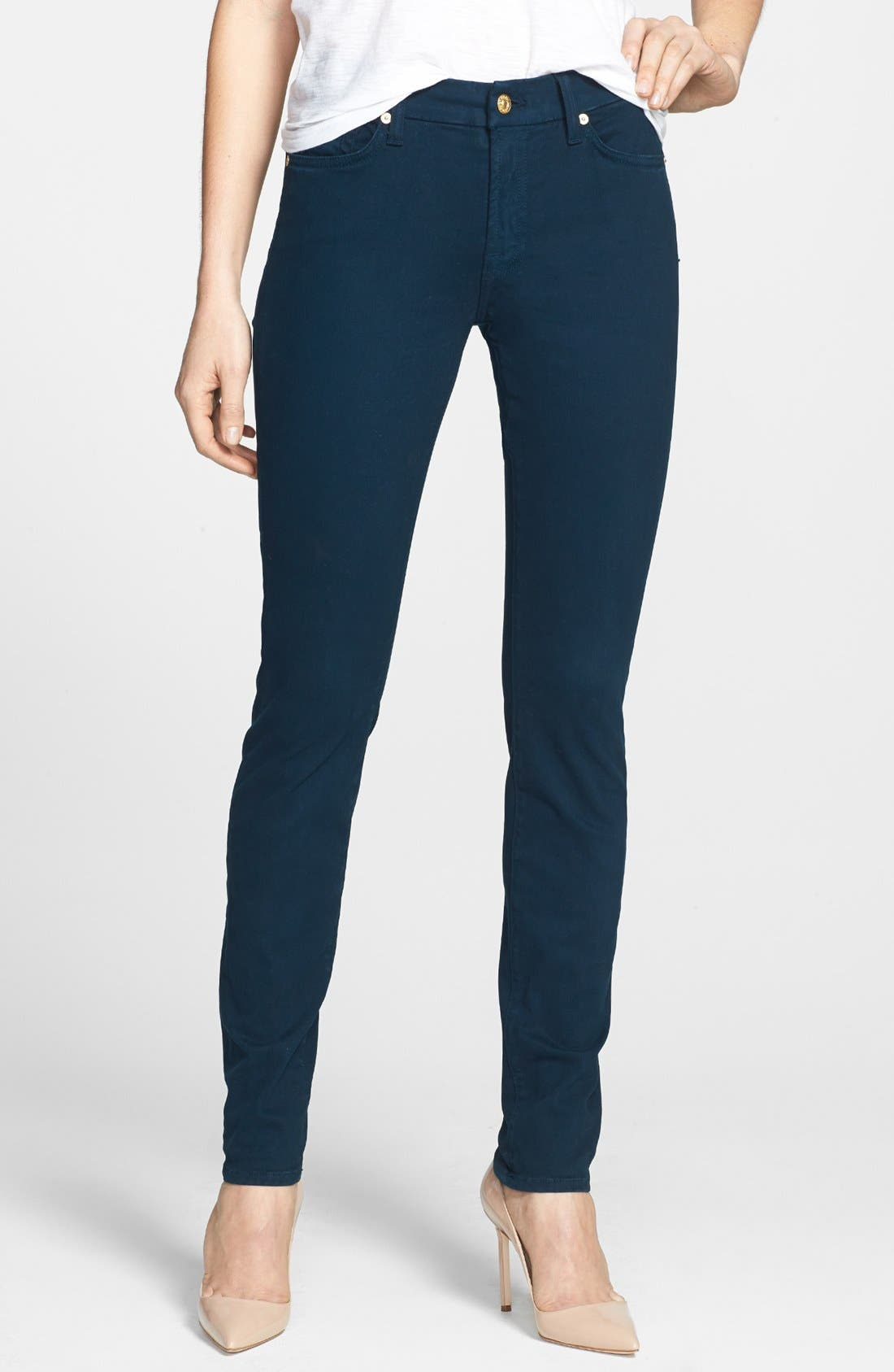 Main Image - 7 For All Mankind® Sateen Skinny Jeans (Dark Capri)