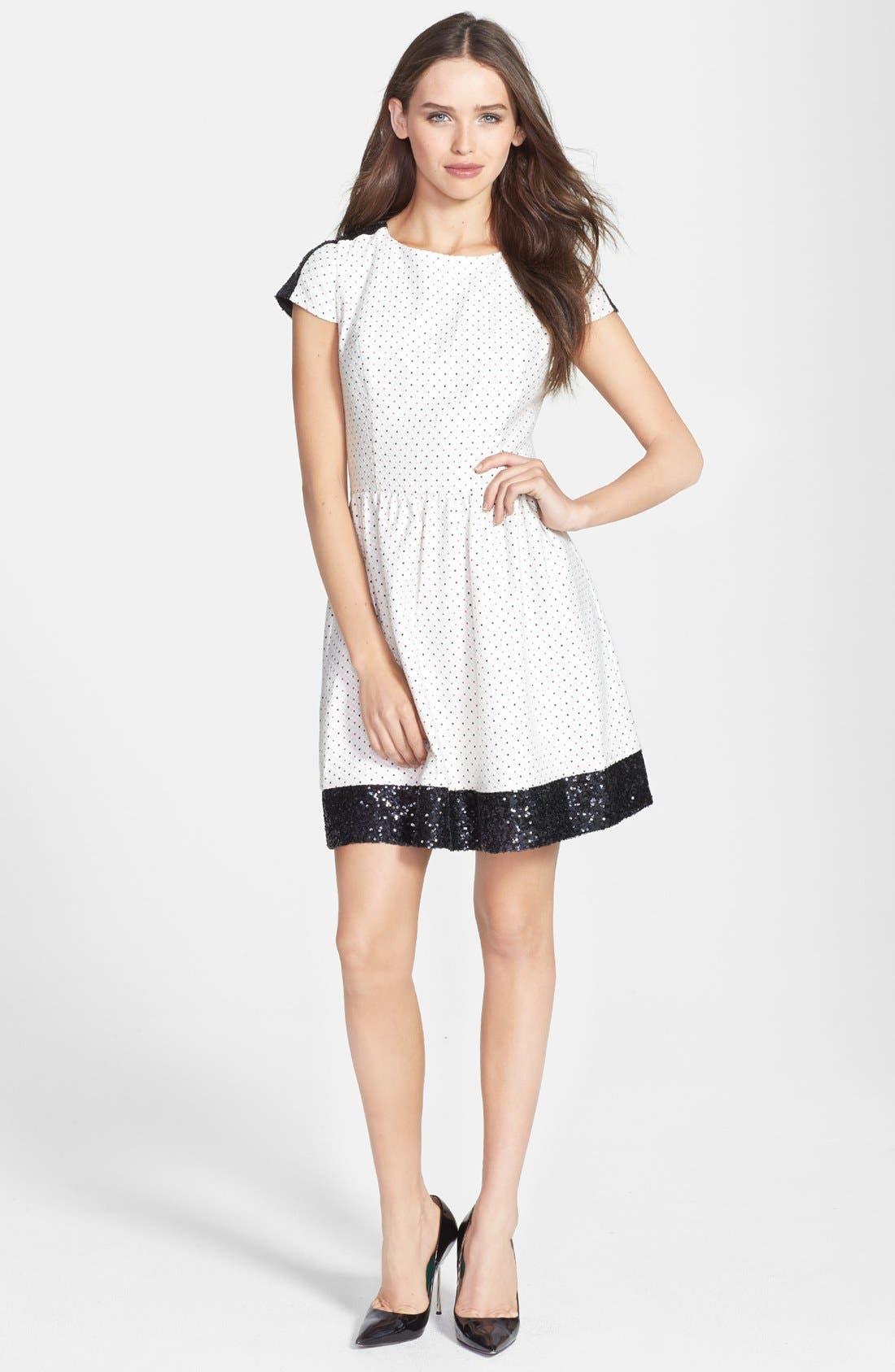 Main Image - kensie Sequin Trim Jacquard Dot Dress