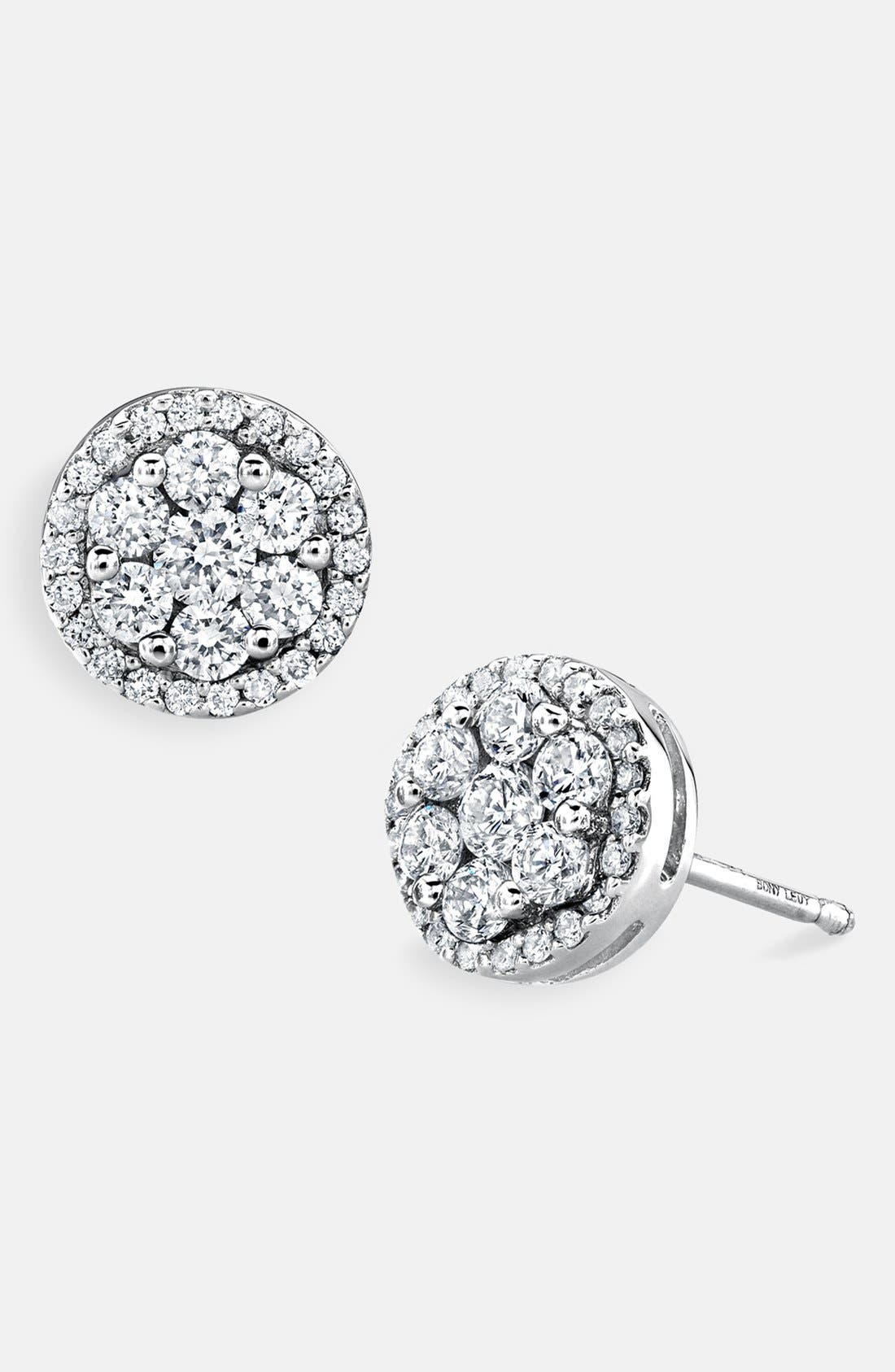 Main Image - Bony Levy Flower Button Diamond Earrings (Nordstrom Exclusive)