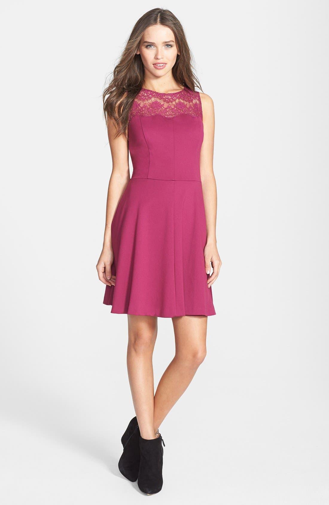 Main Image - Jessica Simpson Lace Yoke Ponte Fit & Flare Dress