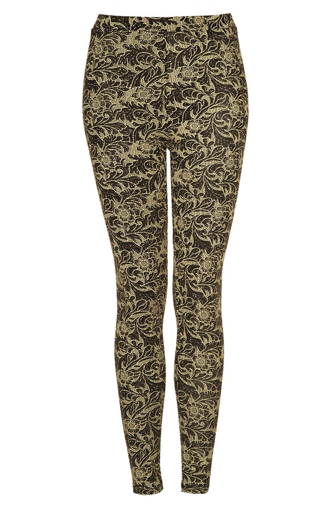 Alternate Image 3  - Topshop Floral Glitter Leggings