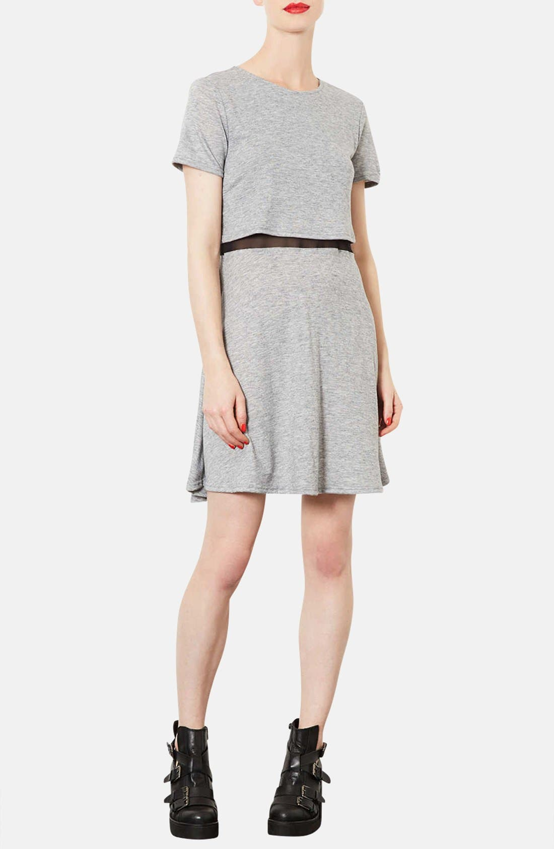 Main Image - Topshop Mesh Inset Overlay Shift Dress