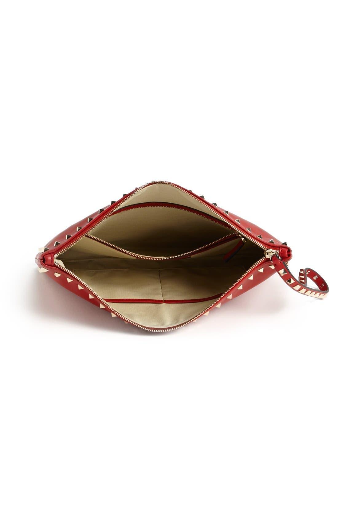 Alternate Image 4  - Valentino 'Rockstud - Flat' Nappa Leather Clutch