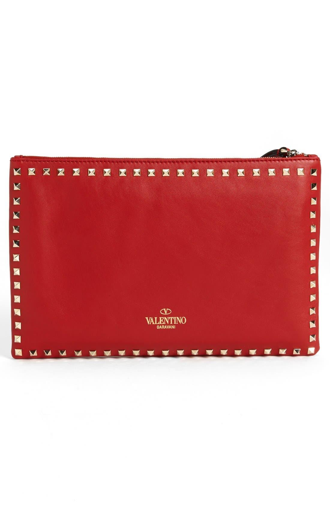 Alternate Image 3  - Valentino 'Rockstud - Flat' Nappa Leather Clutch
