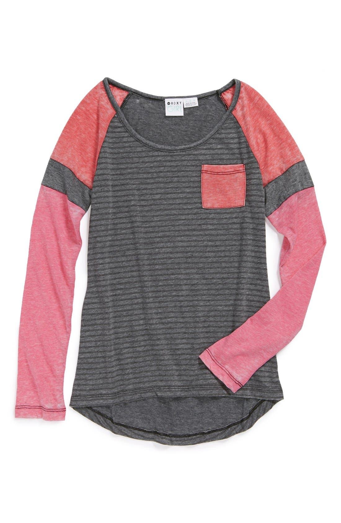 Main Image - Roxy 'Endless Winter' Colorblock Tee (Big Girls)