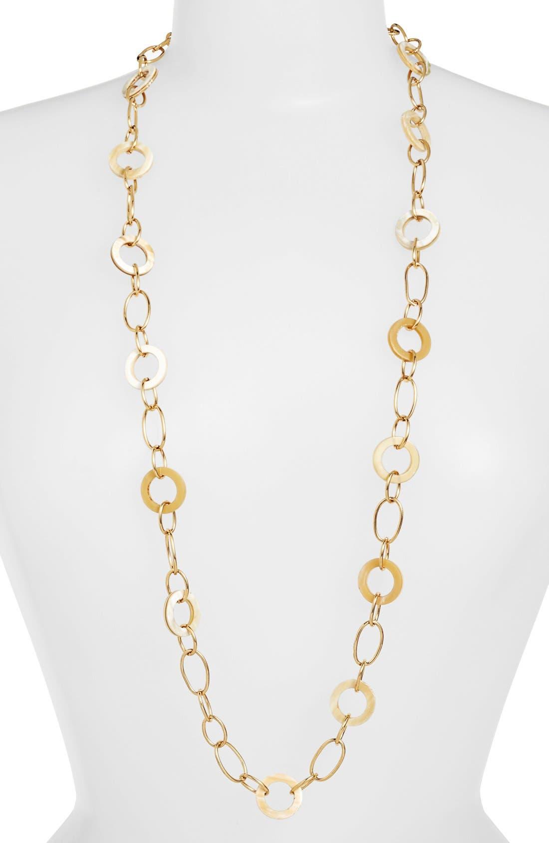 Main Image - Lauren Ralph Lauren Horn & Chain Link Necklace