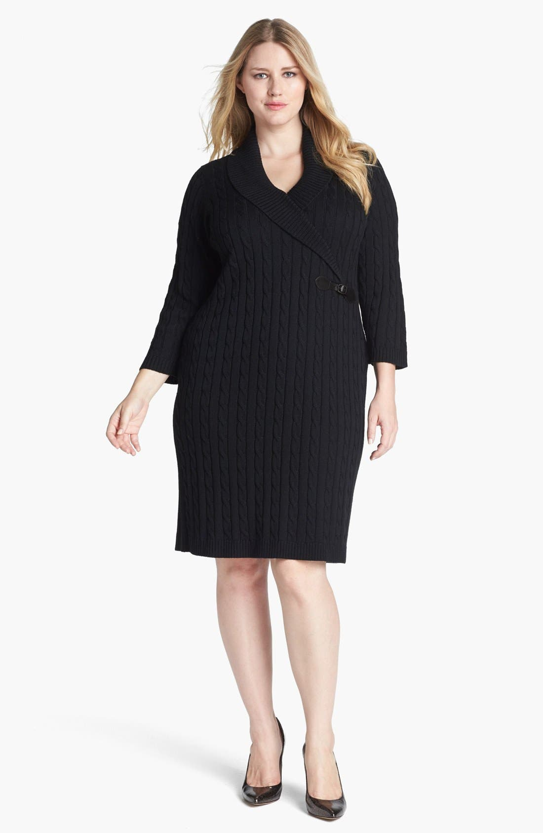 Main Image - Calvin Klein Faux Wrap Sweater Dress (Plus Size)