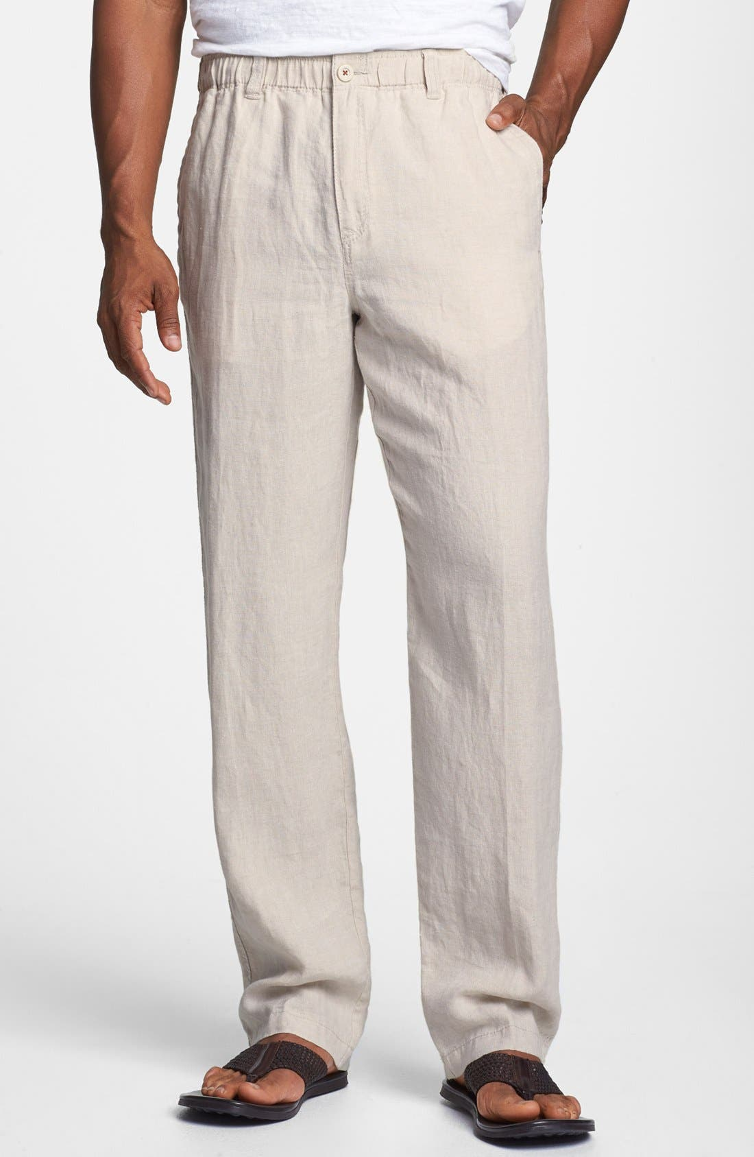 'New Linen on the Beach' Easy Fit Pants,                             Main thumbnail 1, color,                             Natural Linen