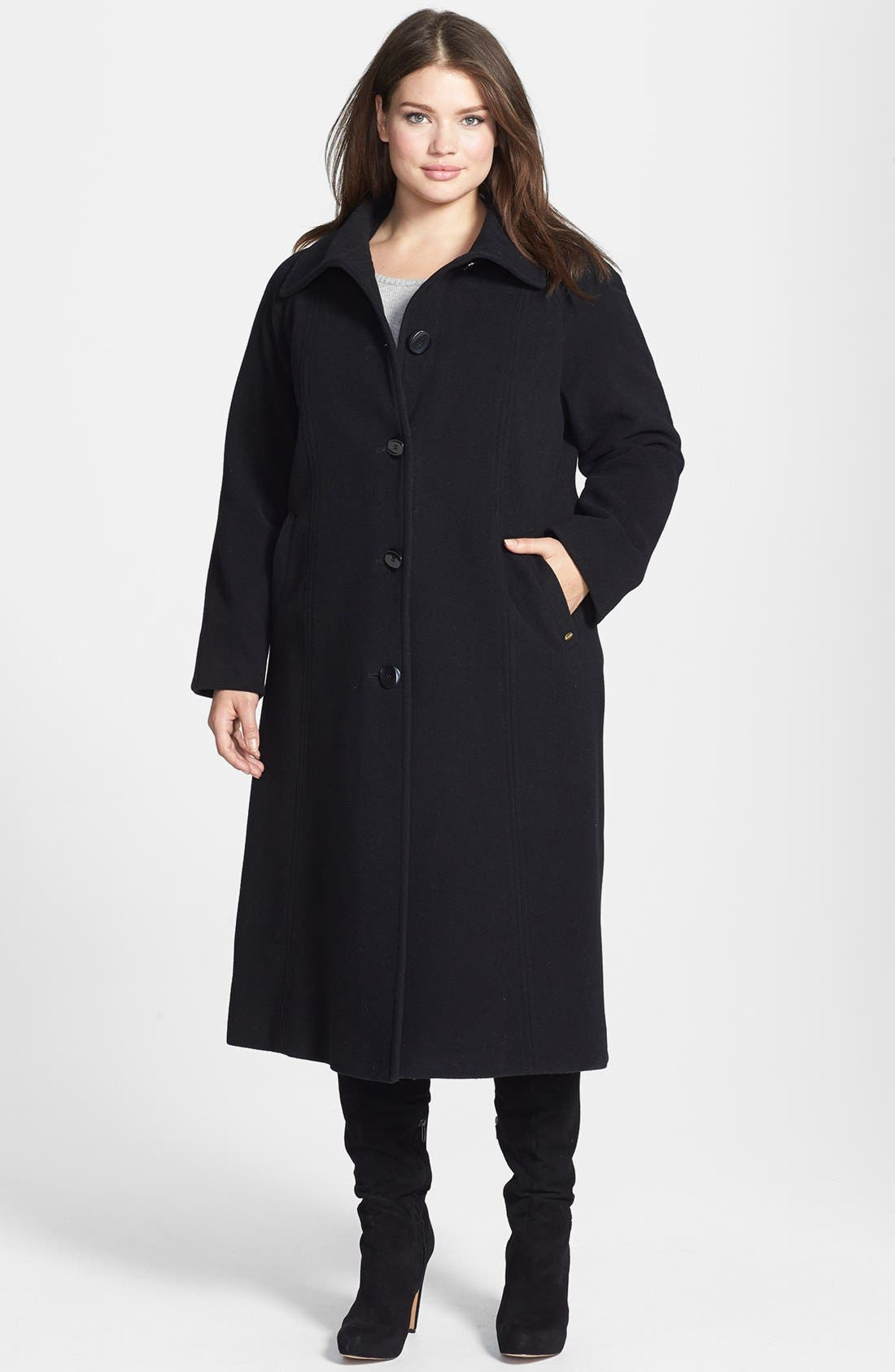 Alternate Image 1 Selected - Ellen Tracy Single Breasted Long Wool Blend Coast (Plus Size)