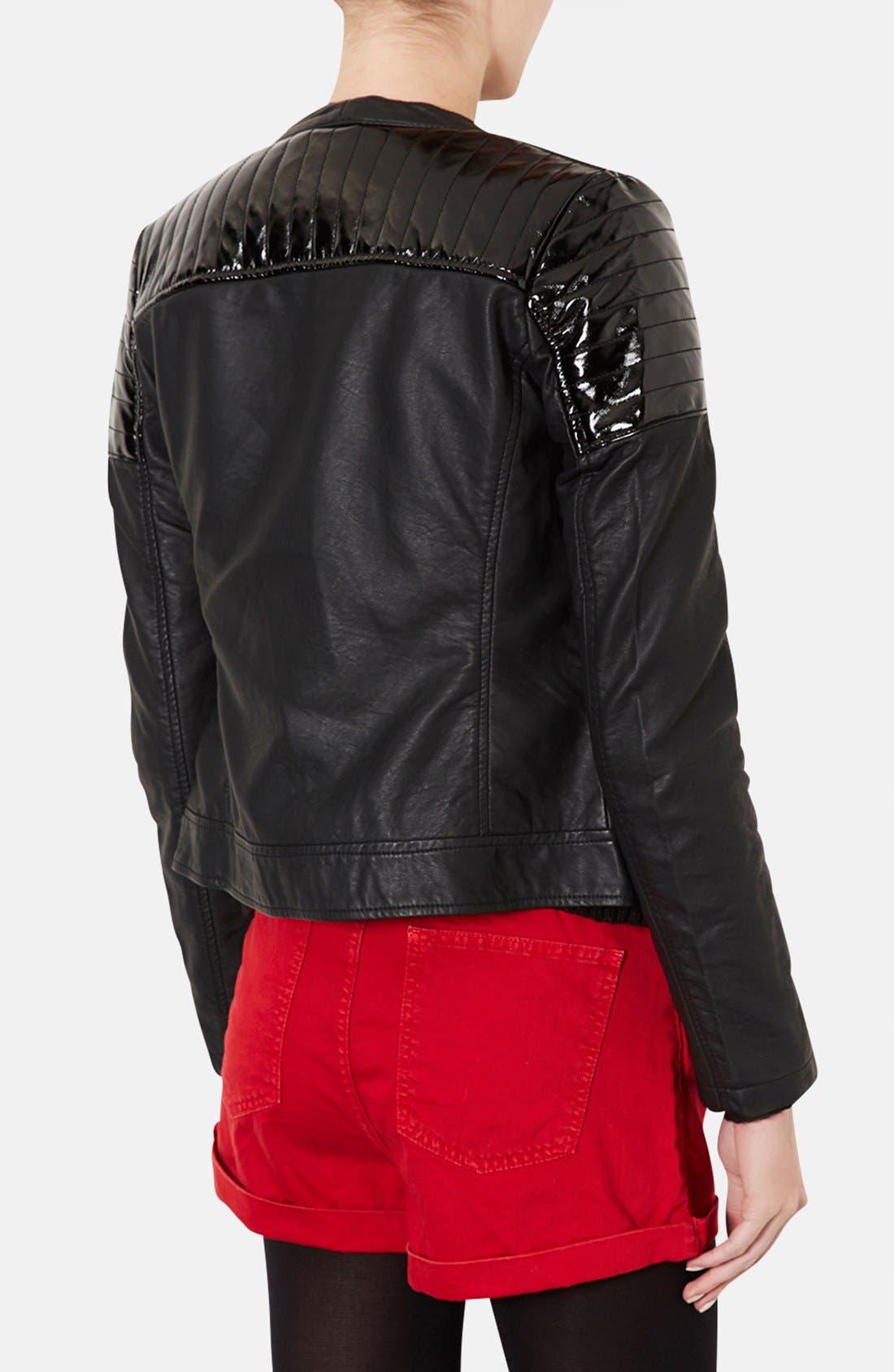 Alternate Image 2  - 'Cherrie' Patent Panel Moto Jacket