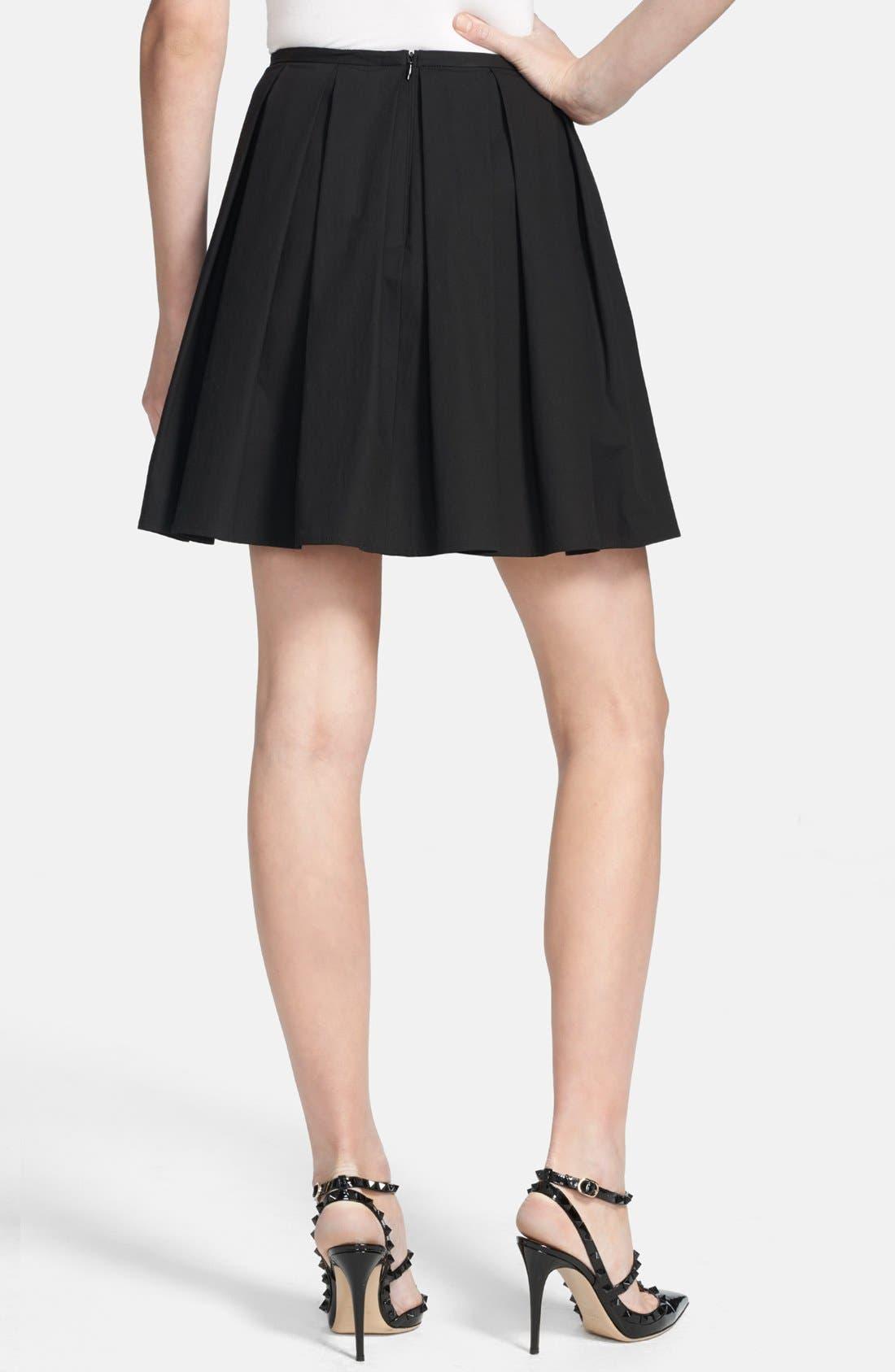 Alternate Image 2  - RED Valentino Pleated Stretch Poplin A-Line Skirt