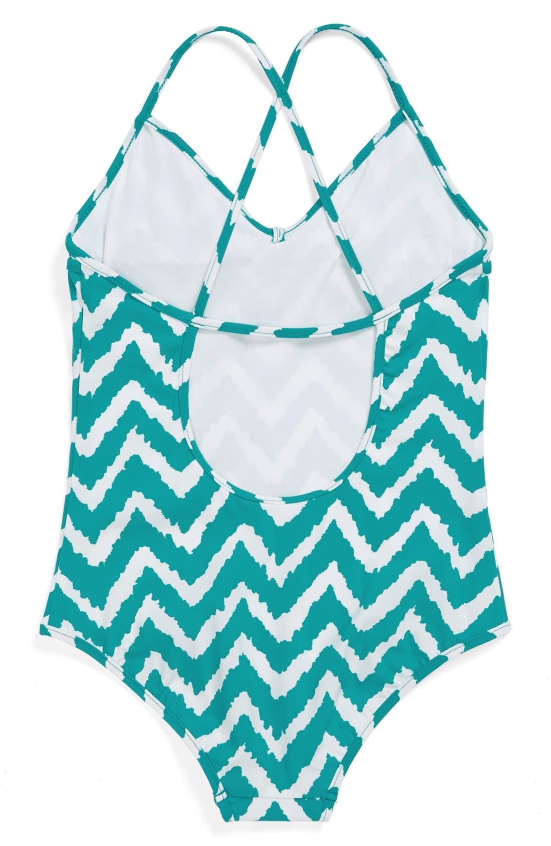 Alternate Image 2  - Milly Minis Zigzag One-Piece Swimsuit (Toddler Girls, Little Girls & Big Girls)