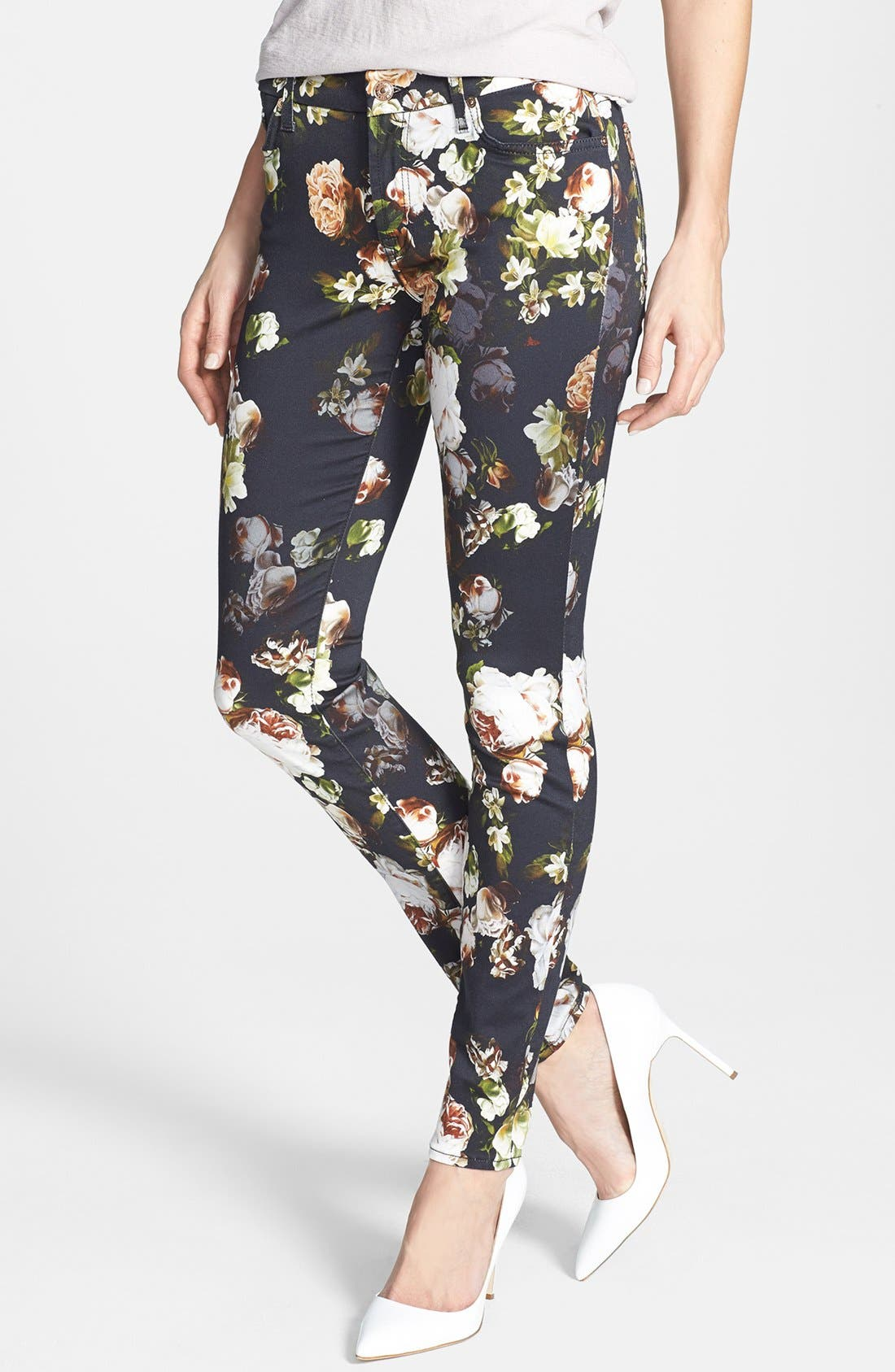 Main Image - 7 For All Mankind® 'The Skinny' Floral Pattern Jeans (Nighttime Floral)