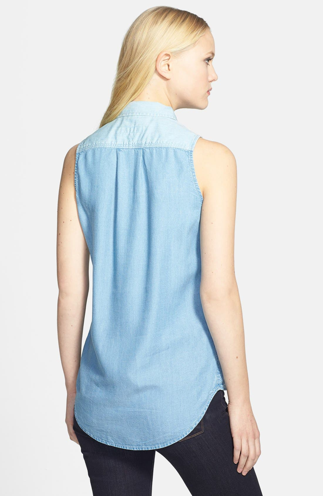 Alternate Image 2  - Two by Vince Camuto 'Bleached Boy' Sleeveless Denim Shirt