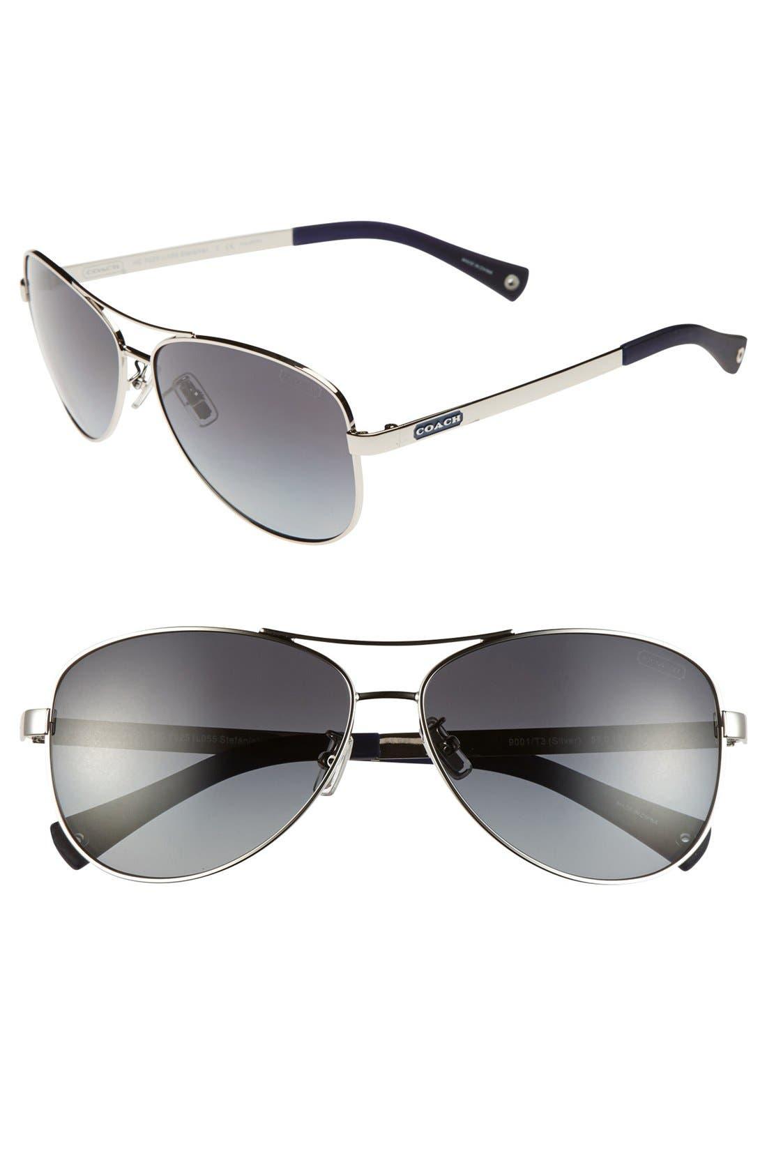 Main Image - COACH 59mm Aviator Sunglasses
