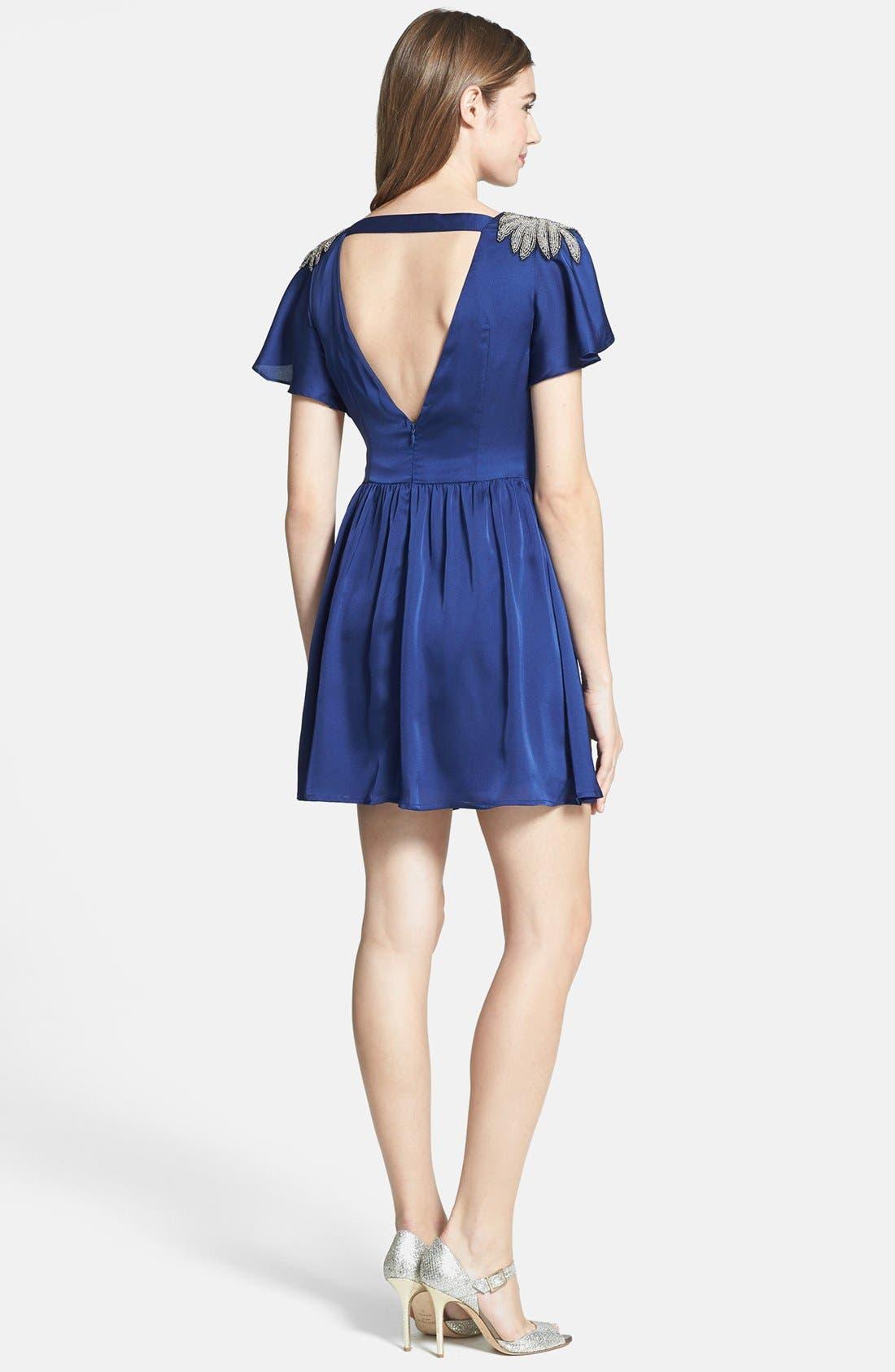 Alternate Image 2  - Jarlo Embellished Satin Fit & Flare Dress