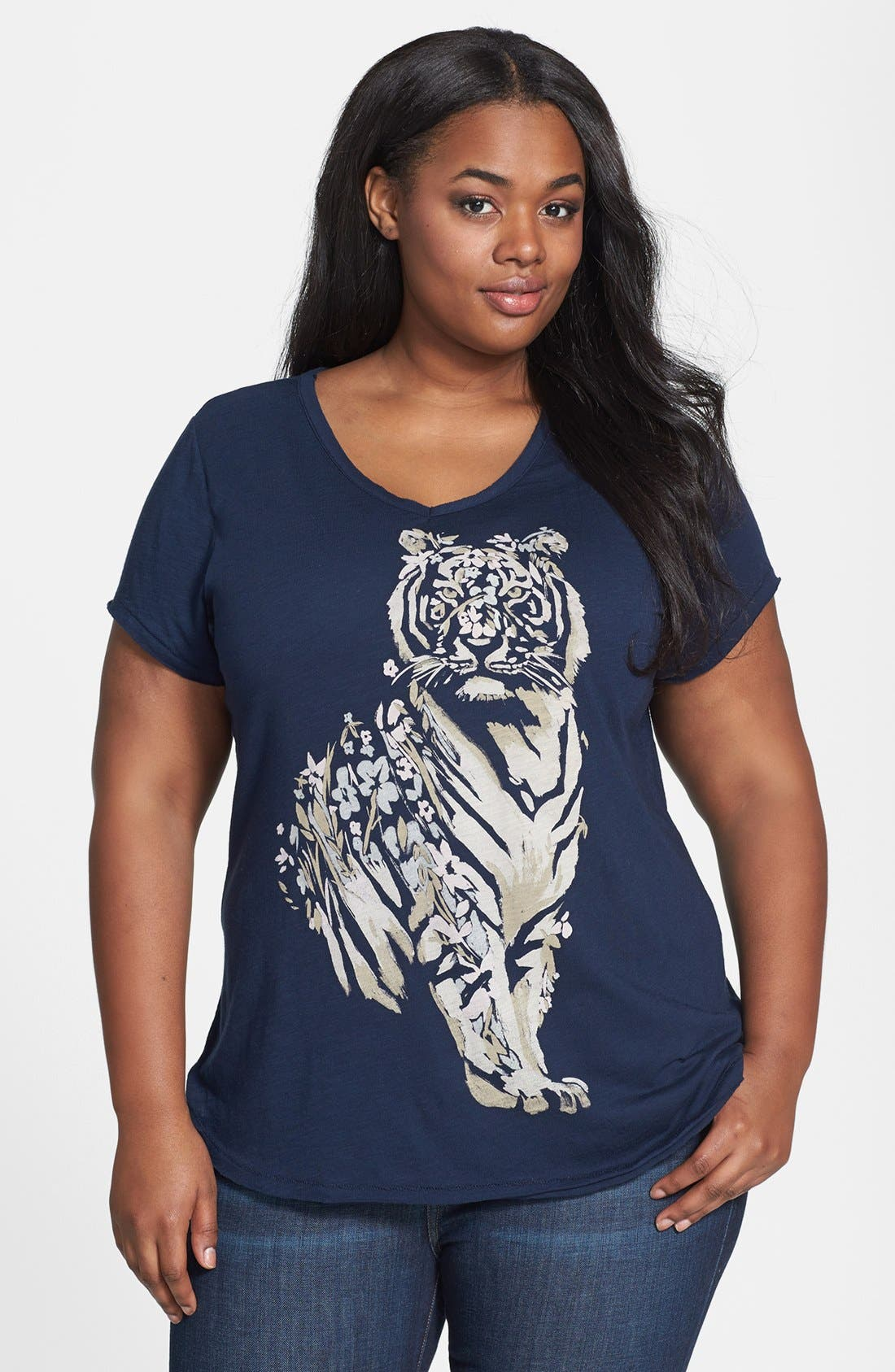 Alternate Image 1 Selected - Lucky Brand Floral Tiger Tee (Plus Size)