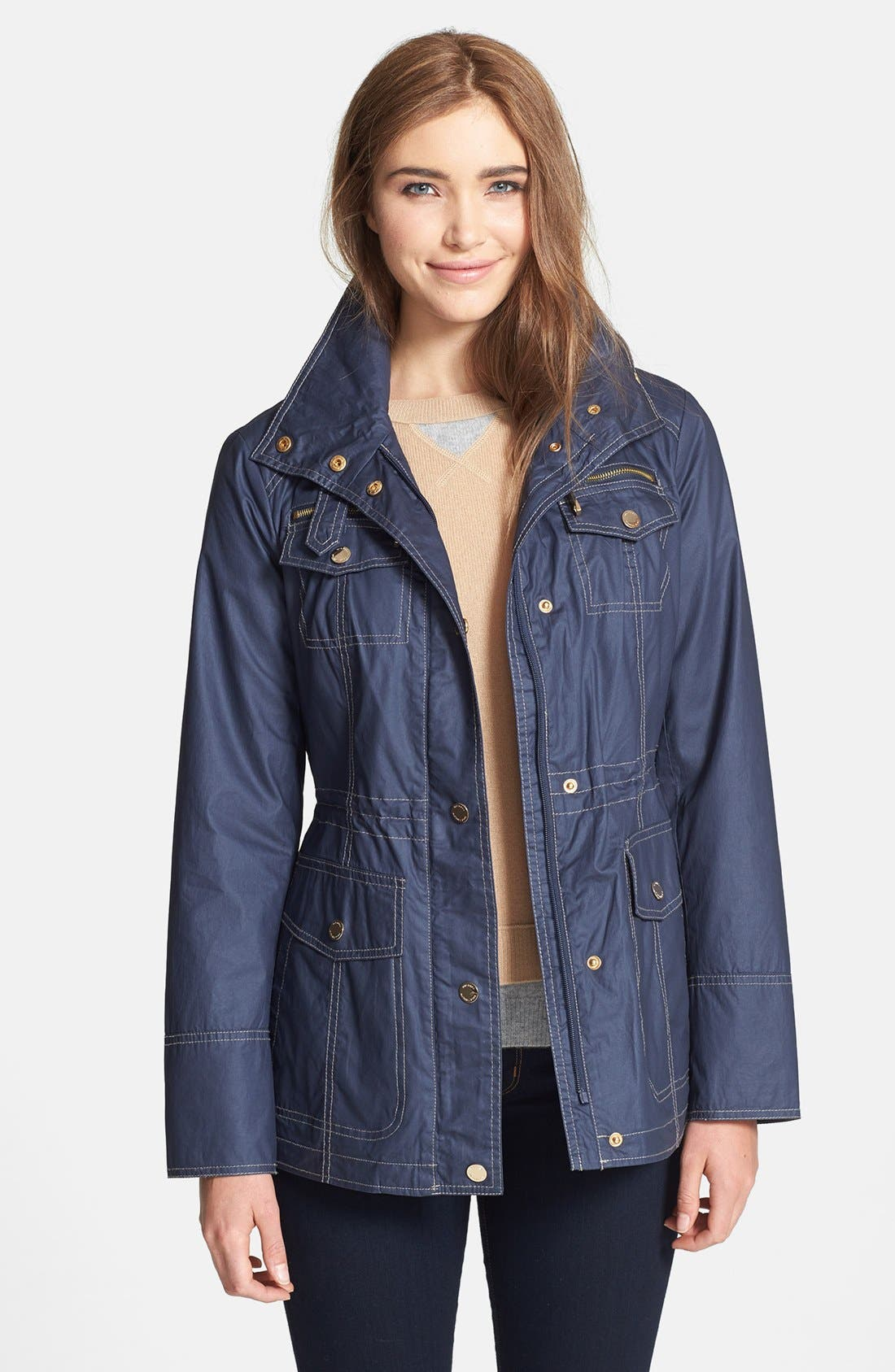 Alternate Image 1 Selected - MICHAEL Michael Kors Contrast Stitch Waxed Cotton Anorak Jacket