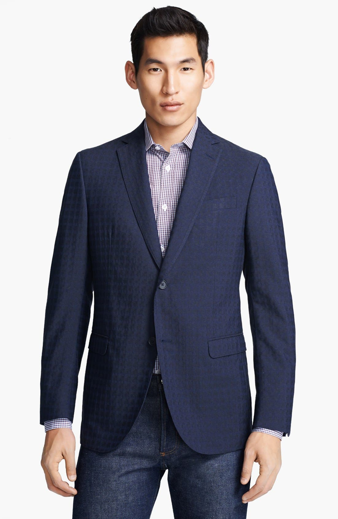 Alternate Image 1 Selected - Z Zegna Navy Jacquard Check Wool Sportcoat