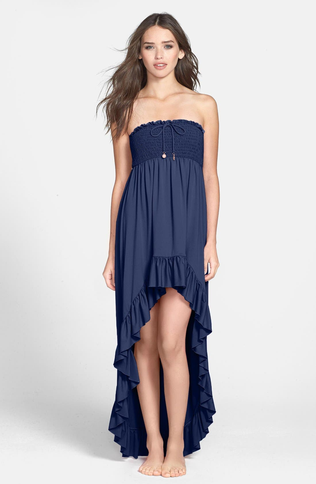 Main Image - Juicy Couture Beach 'Bow Chic' Smocked High/Low Cover-Up Dress