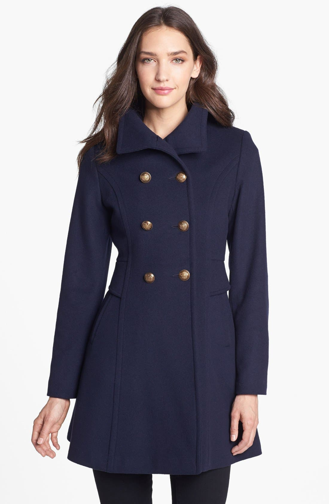 Main Image - Trina Turk Lambswool & Cashmere Officer's Coat (Petite)