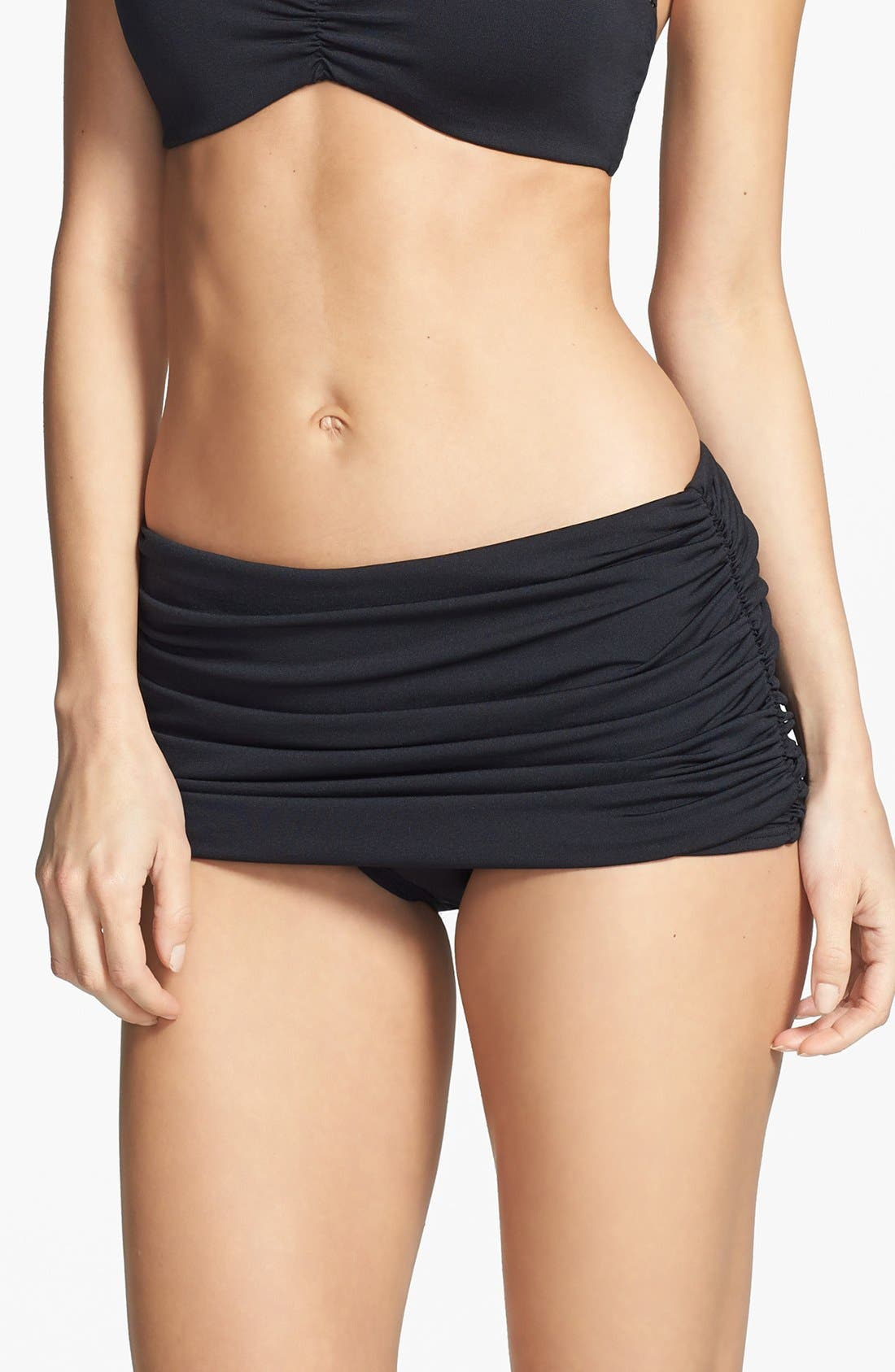 Carmen Marc Valvo 'Cape Town Beach' Shirred Skirted Bikini Bottoms,                             Main thumbnail 1, color,                             Luxe Black