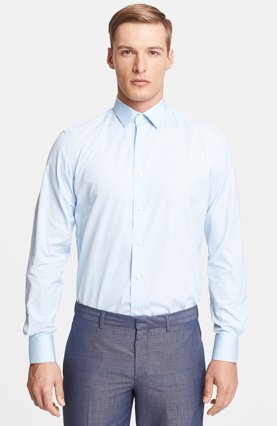 Slim Fit Poplin Dress Shirt,                             Main thumbnail 1, color,                             Blue
