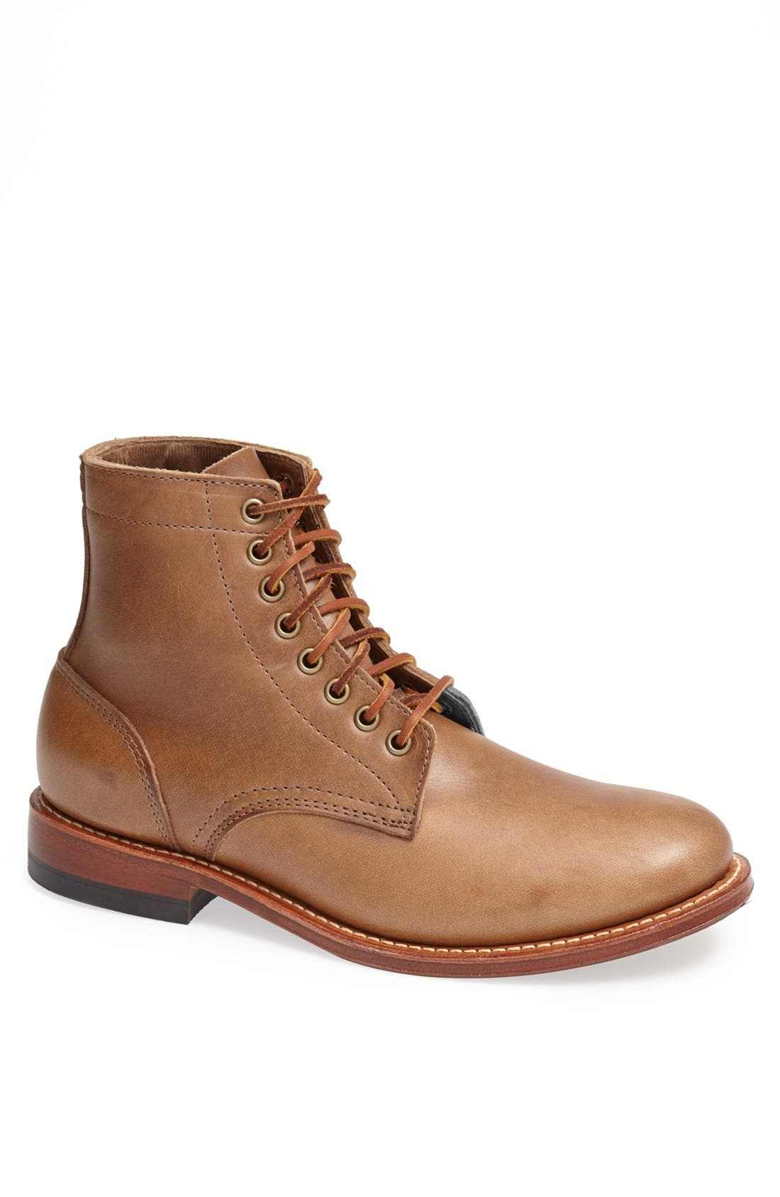 OAK STREET BOOTMAKERS Plain Toe Trench Boot in Natural Brown