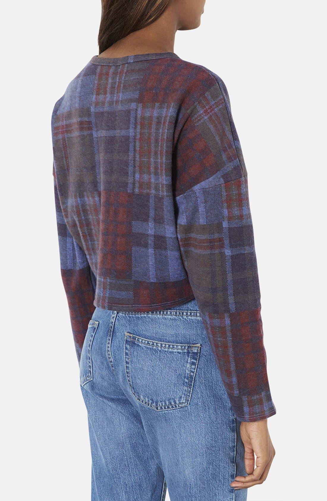 Alternate Image 2  - Topshop Boxy Check Print Cotton Sweatshirt