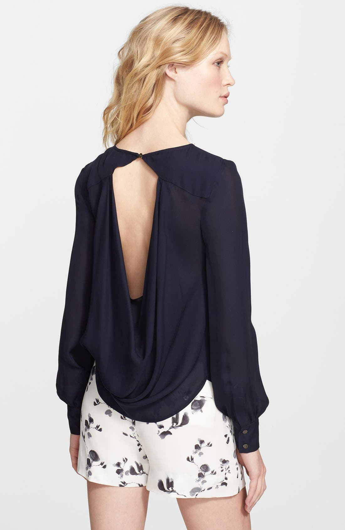Alternate Image 2  - Haute Hippie Open Back Silk Blouse