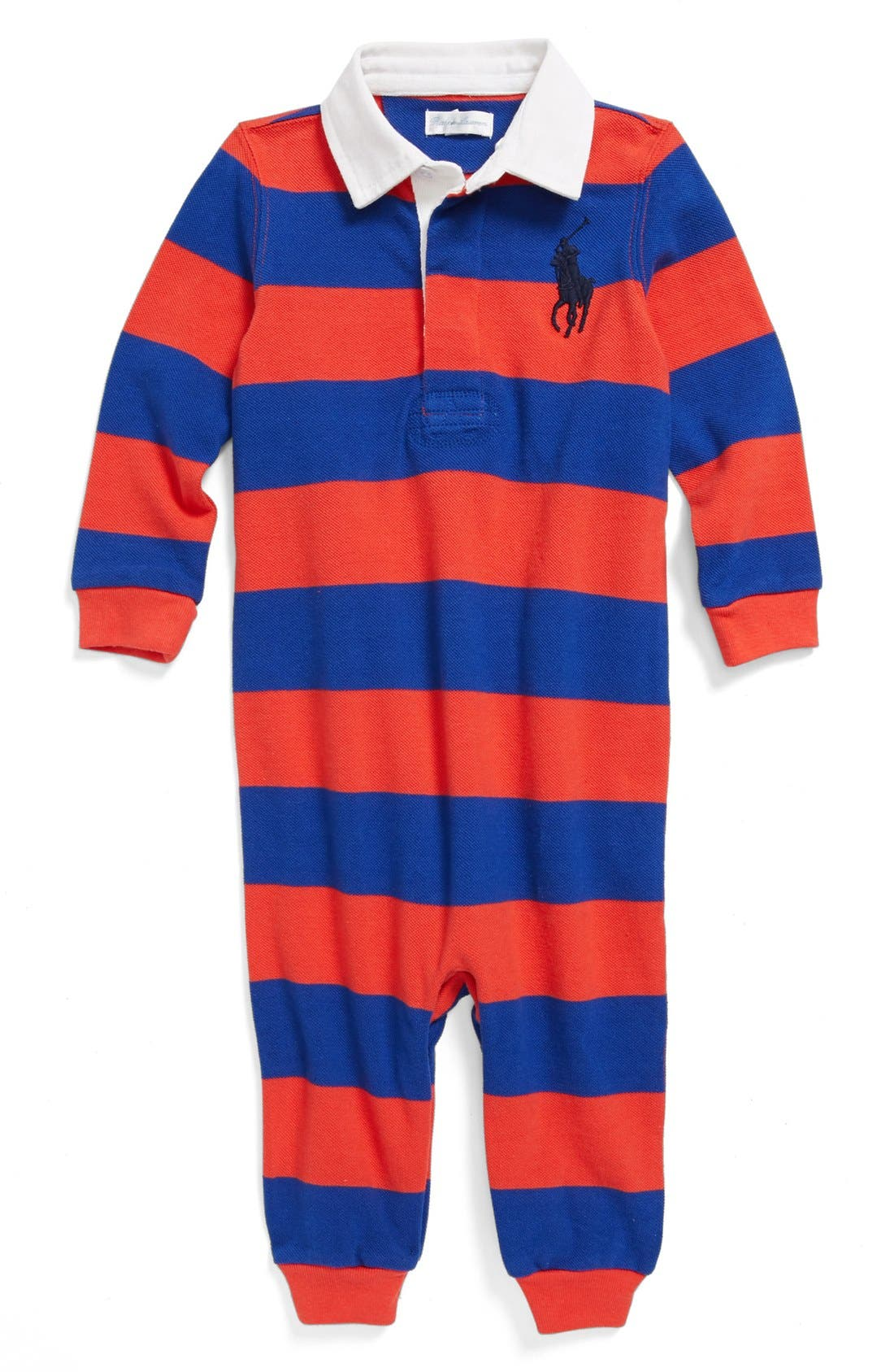 Main Image - Ralph Lauren Stripe Cotton Romper (Baby Boys)