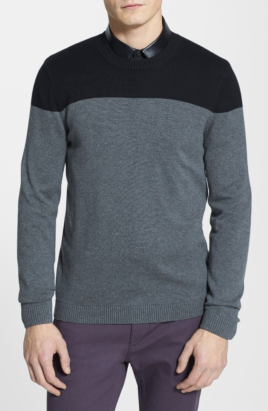 Alternate Image 1 Selected - Topman Two-Tone Panel Crewneck Sweater