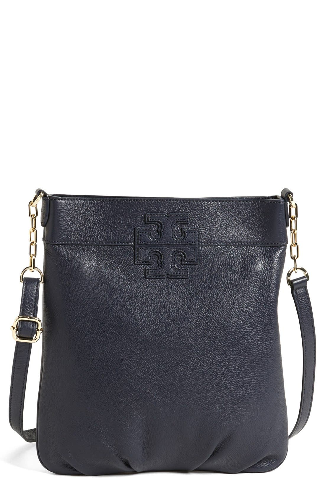 'Stacked T' Leather Book Bag,                             Main thumbnail 1, color,                             Tory Navy