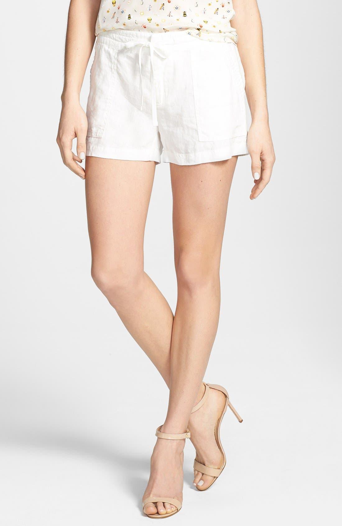 'Treyla' Drawstring Linen Shorts,                             Main thumbnail 1, color,                             Porcelain