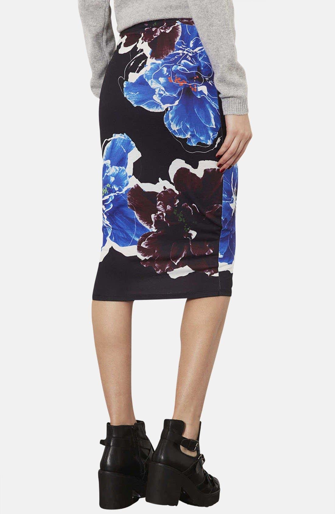 Alternate Image 2  - Topshop Floral Print Tube Skirt