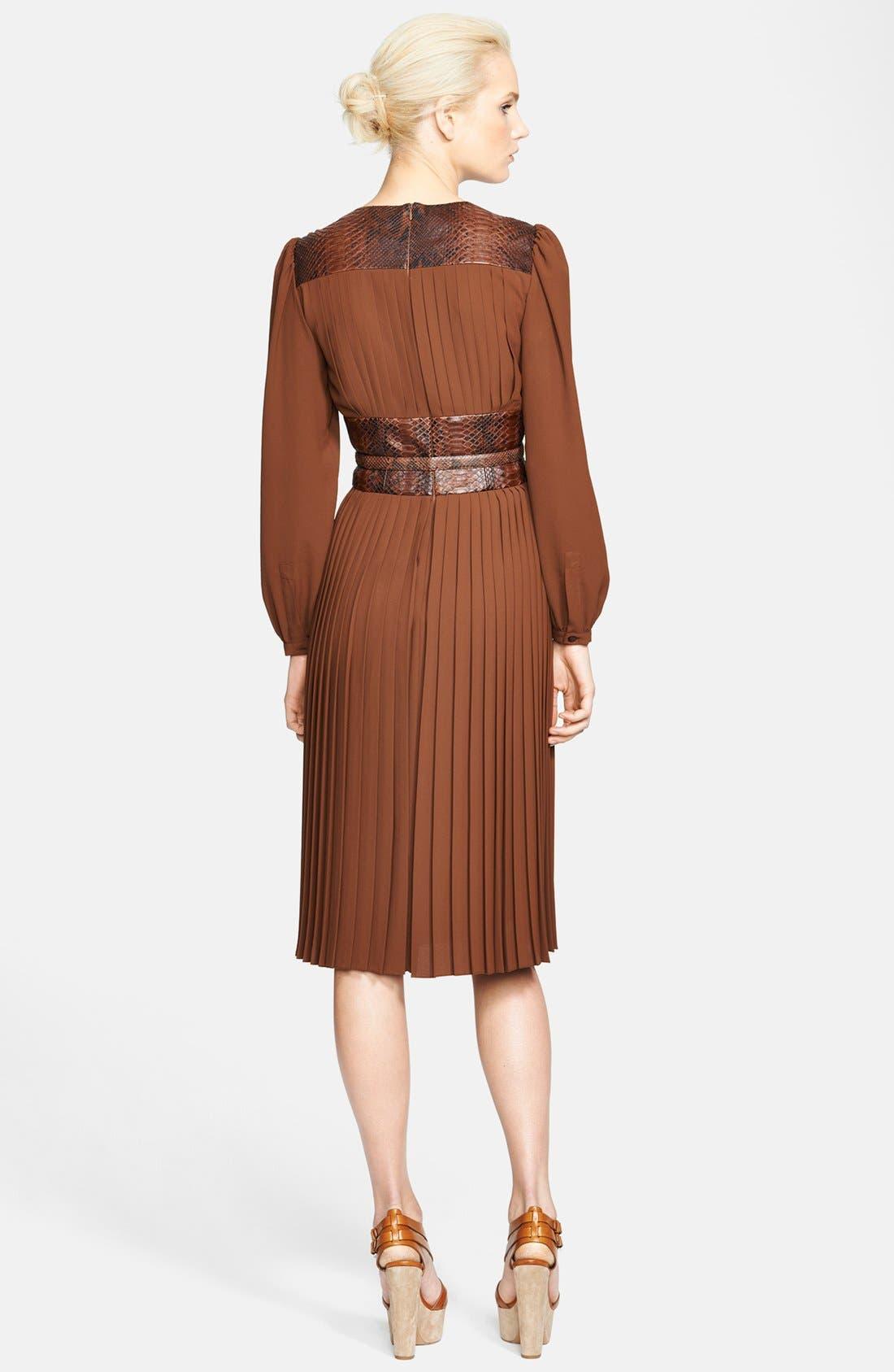 Alternate Image 2  - Michael Kors Leather Belted Pleat Dress