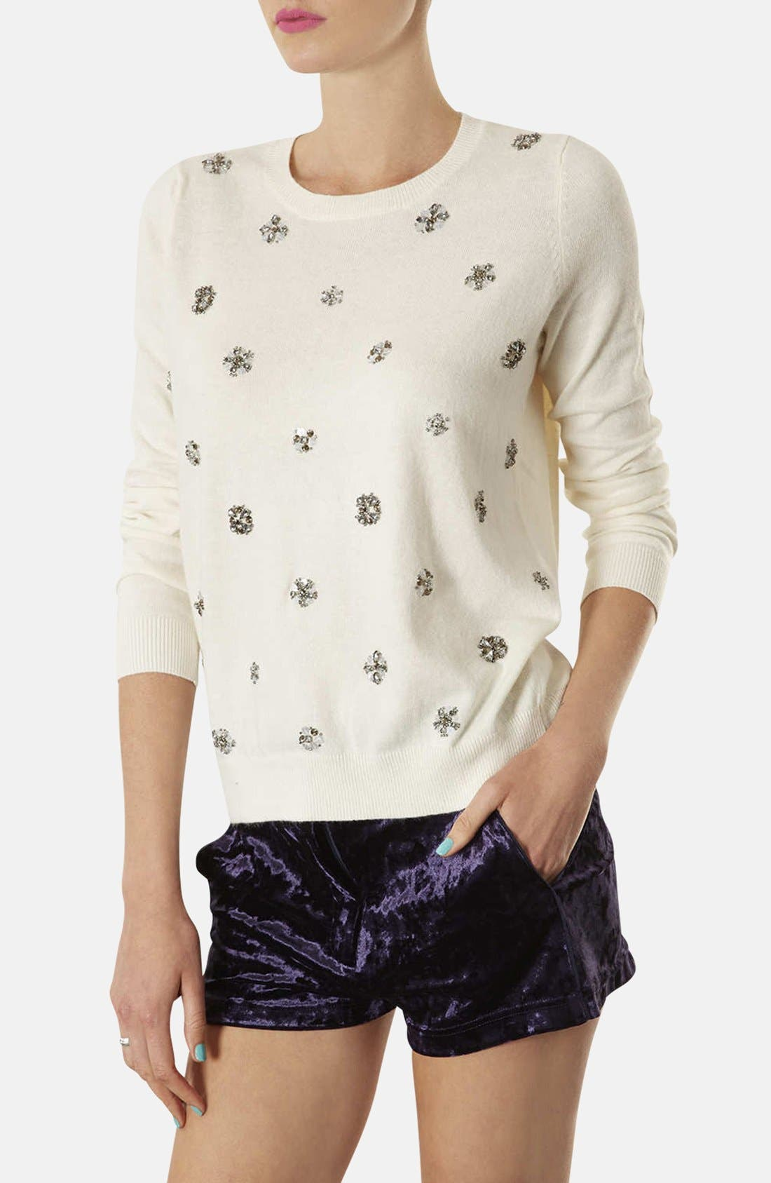 Alternate Image 1 Selected - Topshop Embellished Knit Sweater