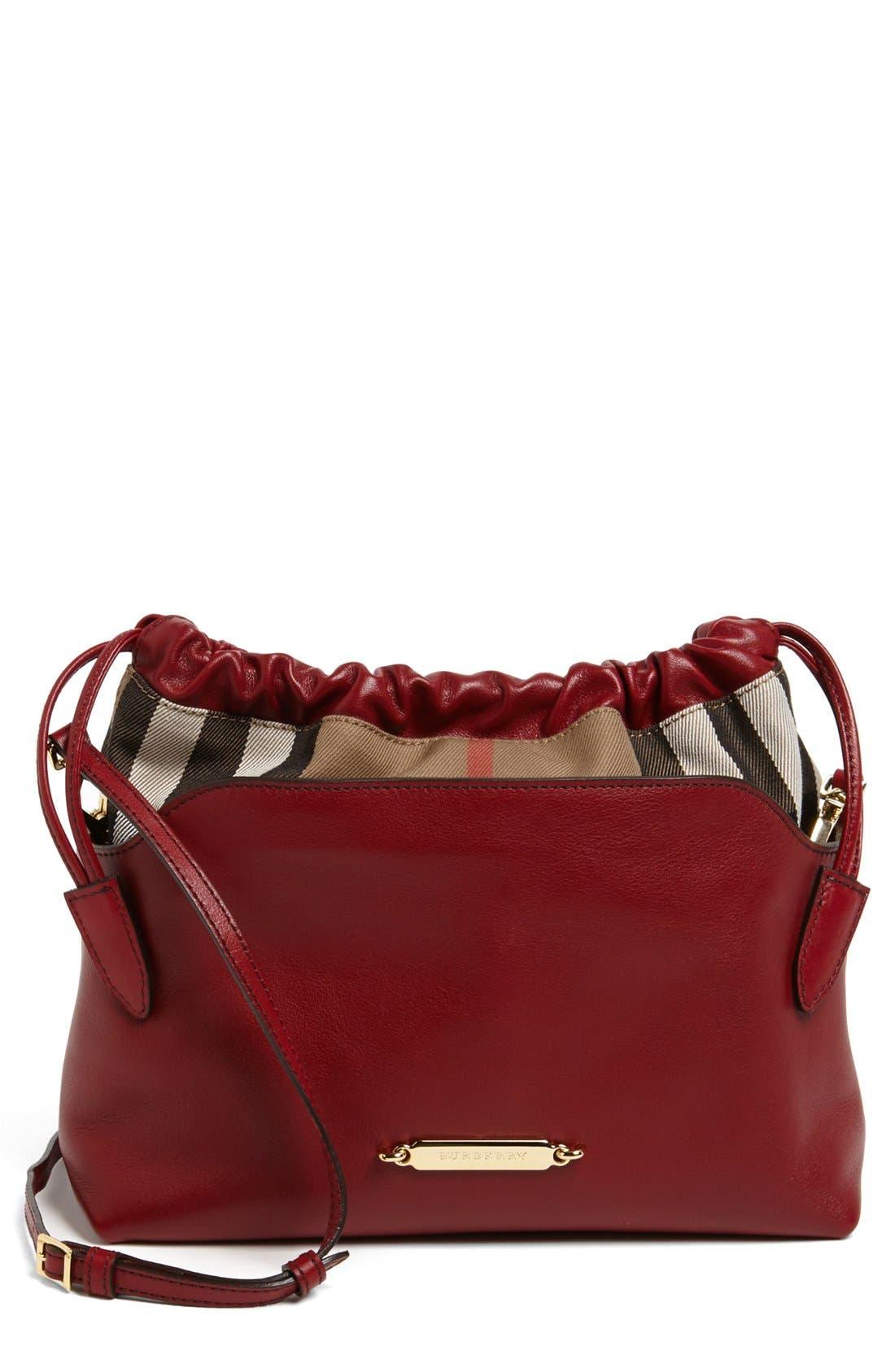 Main Image - Burberry 'Little Crush - House Check' Leather Crossbody Bag