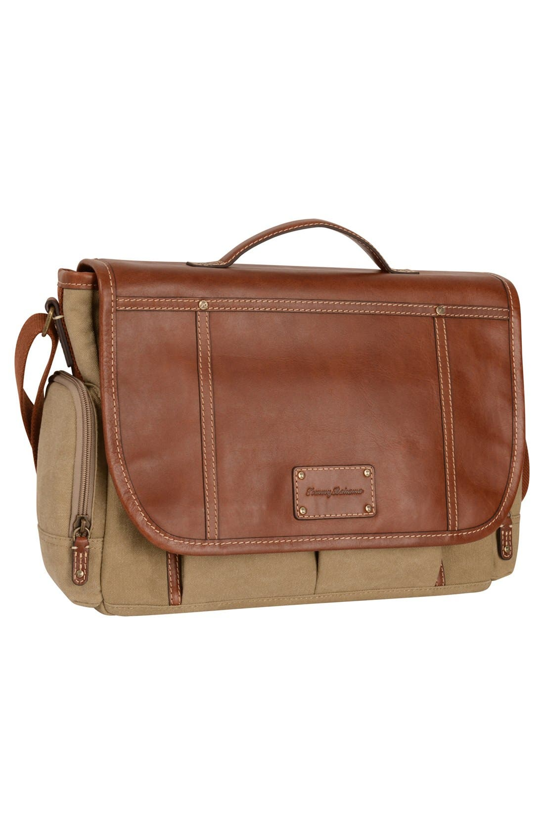 Main Image - Tommy Bahama Canvas & Leather Messenger Bag