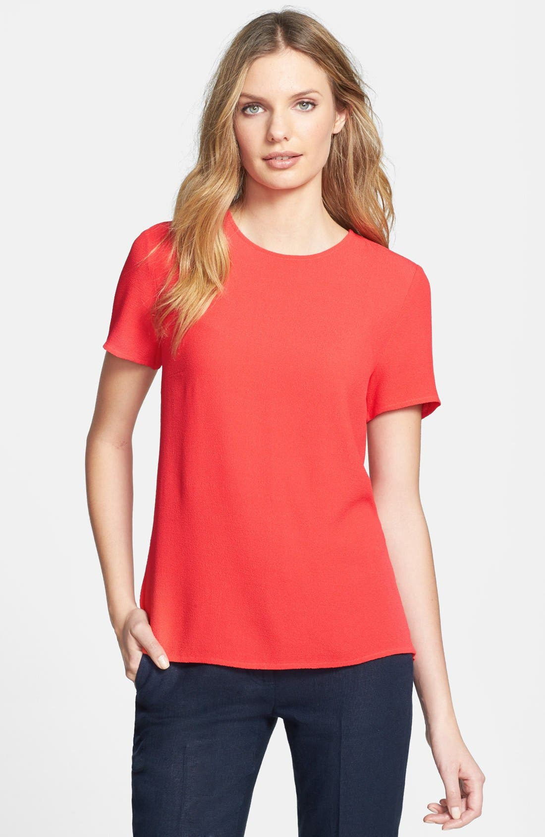 Main Image - MICHAEL Michael Kors Crewneck Peplum Back Top