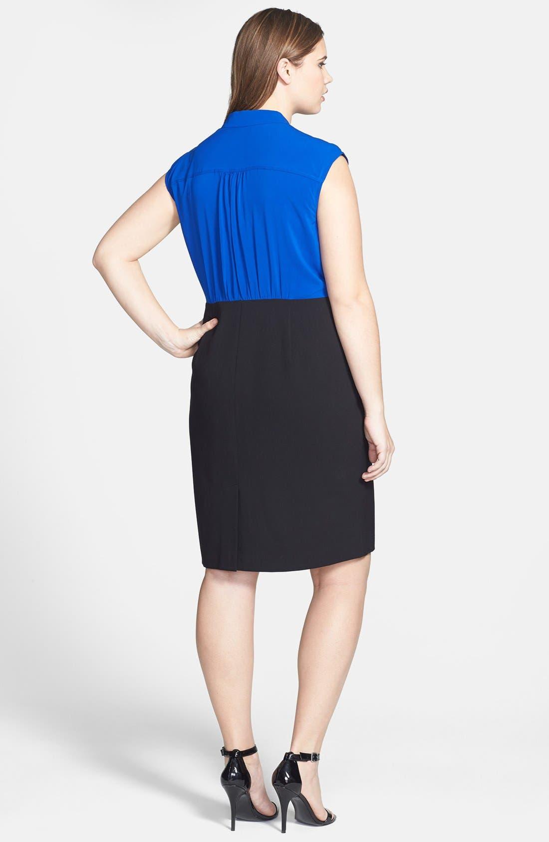 Alternate Image 2  - Calvin Klein Cap Sleeve Colorblock Dress (Plus Size)