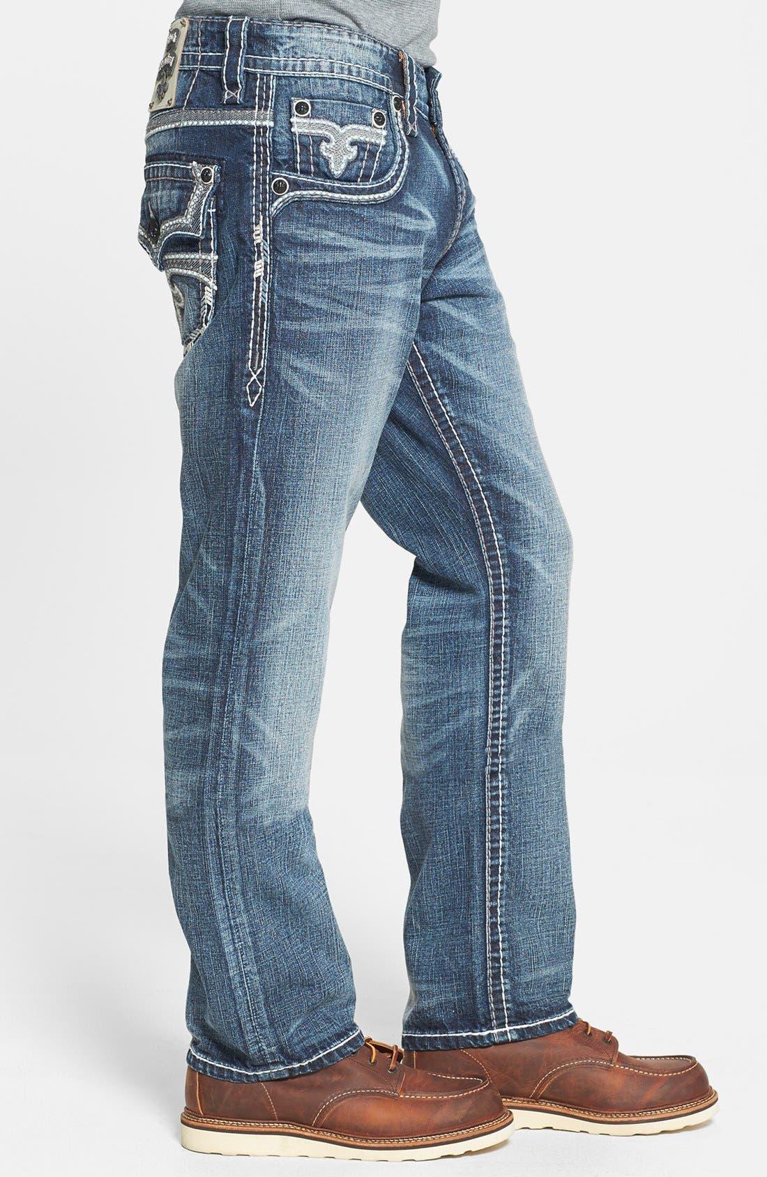 Alternate Image 3  - Rock Revival 'Humfrey' Straight Leg Jeans (Medium Blue)