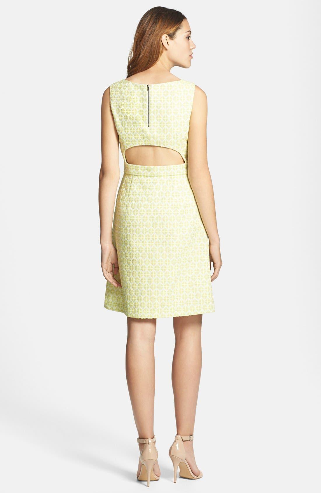 Alternate Image 2  - Halogen® Cutout Back Jacquard Dress (Regular & Petite)