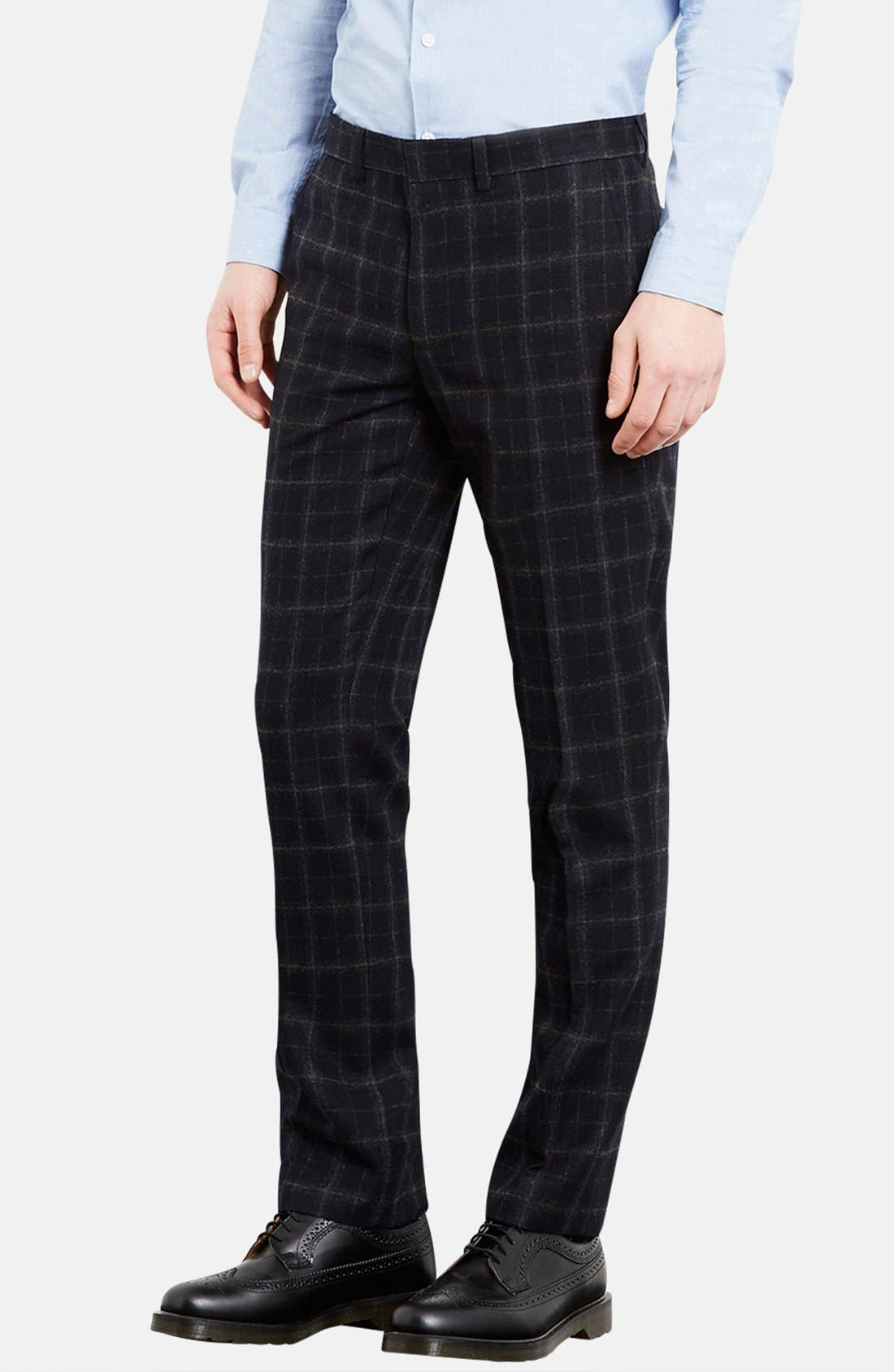 Alternate Image 1 Selected - Topman Skinny Fit Check Wool Blend Trousers