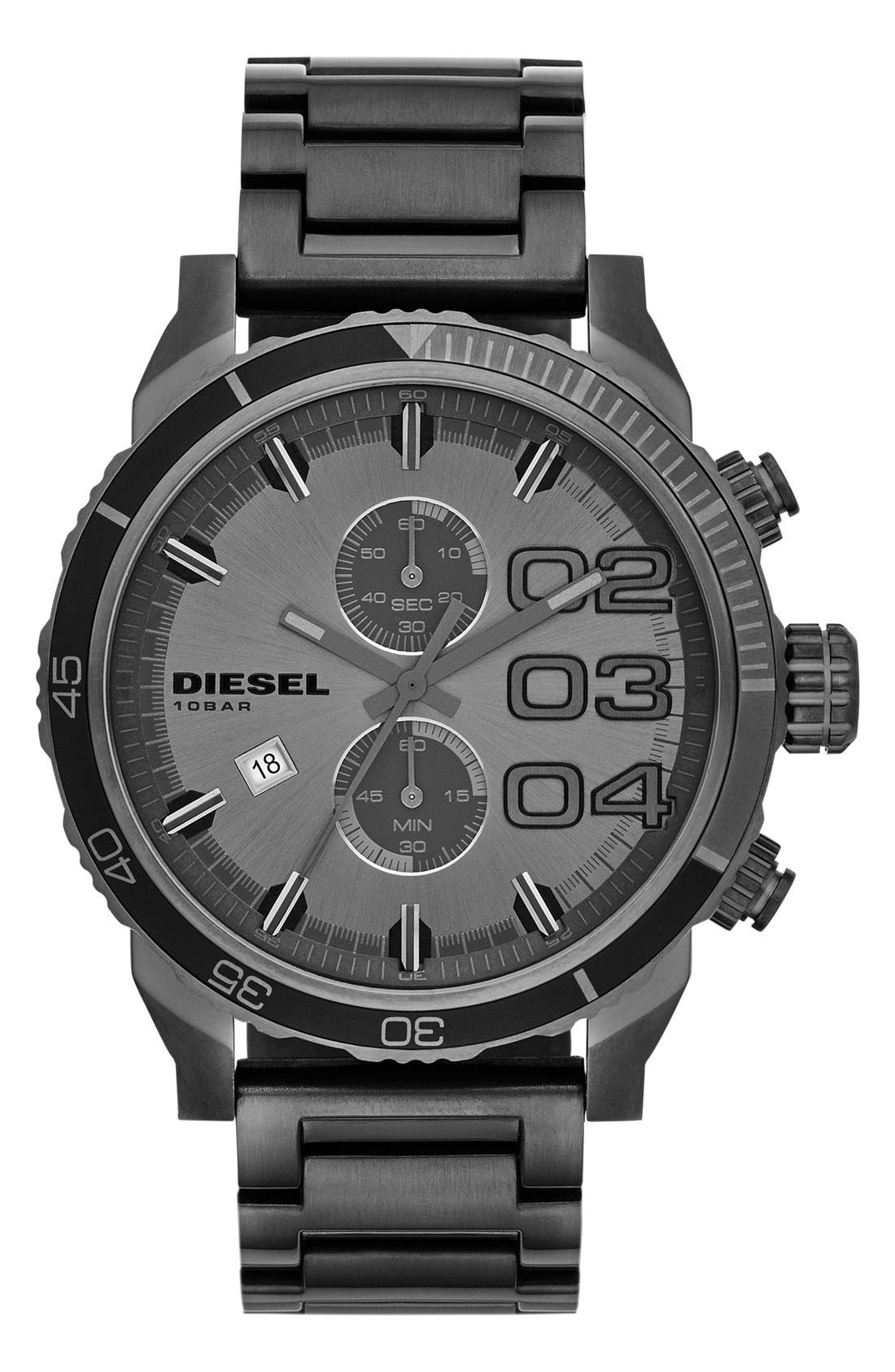 Alternate Image 1 Selected - DIESEL® 'Double Down 2.0' Round Chronograph Bracelet Watch, 48mm