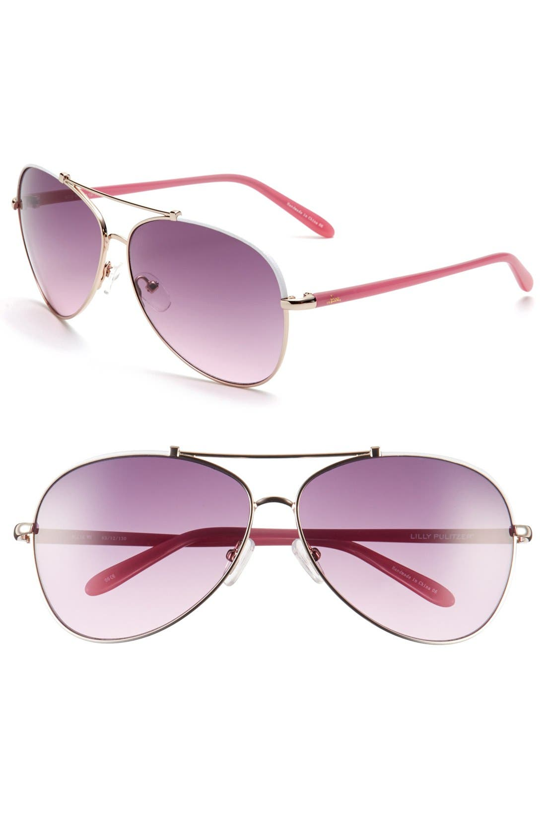 Main Image - Lilly Pulitzer® 'Allie' 62mm Aviator Sunglasses