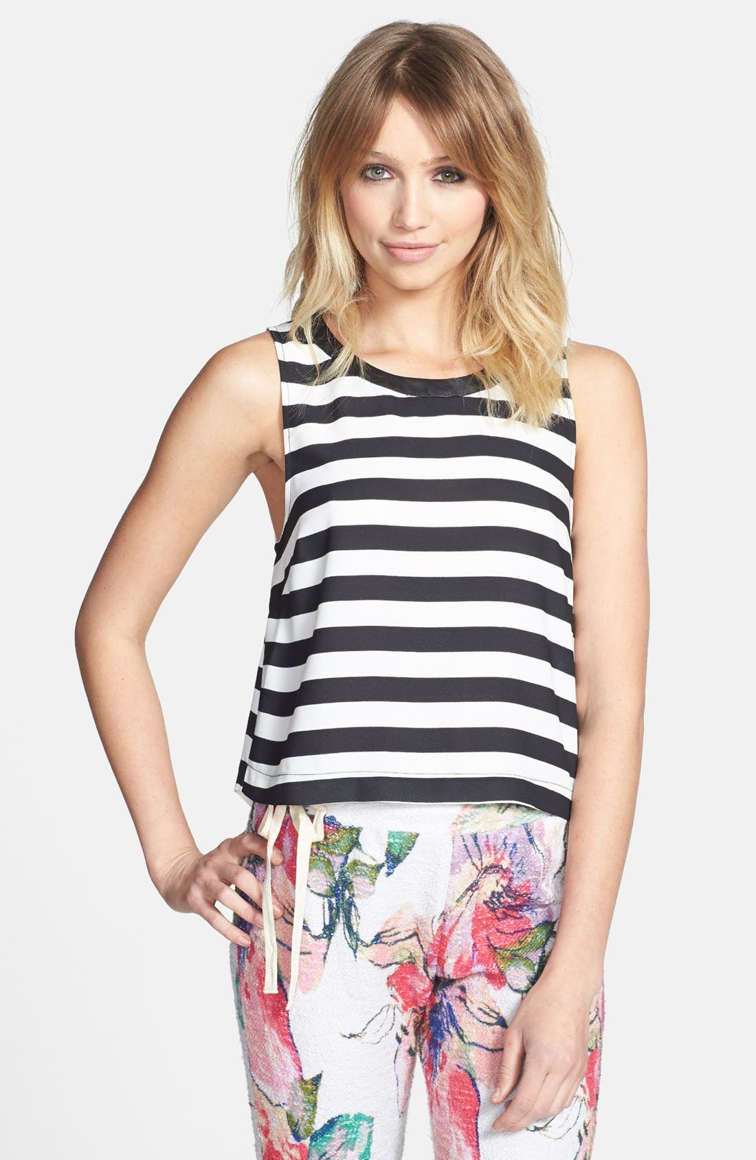 Main Image - ASTR Back Button Stripe Tank