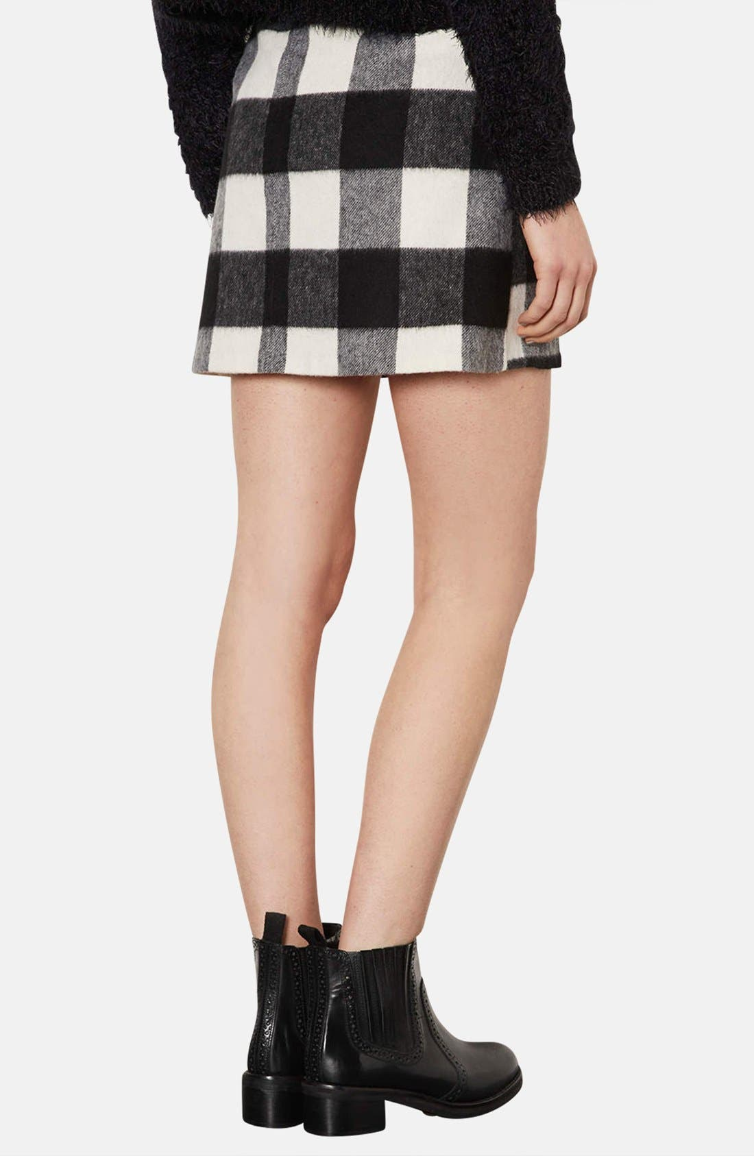 Alternate Image 2  - Topshop Brushed Gingham A-Line Skirt