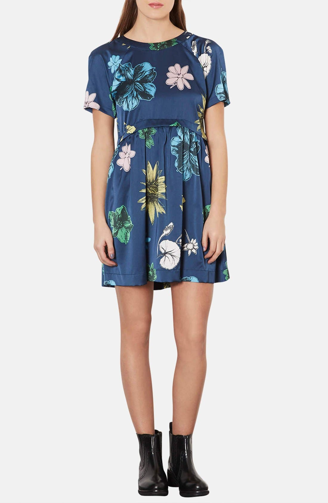 Alternate Image 1 Selected - Topshop 'Tokyo Bud' Print Satin Smock Dress